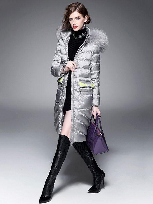 a996207b4c09 Silver Grey Long Puffer Coat! Love it with the over the knee boots!  #Working_Woman #Silver_Grey #Outerwear #Puffer_Coats #Winter_Coats