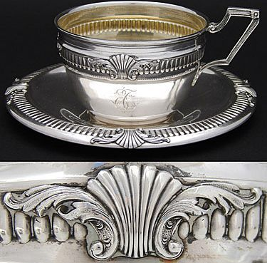 Great Vintage Belgian 800 Nearly Sterling Silver Chocolate or Tea Cup Saucer | eBay