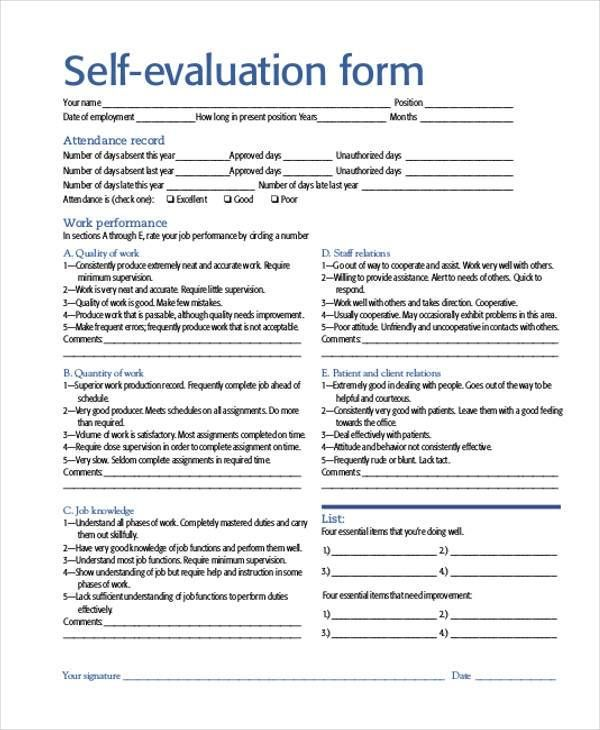 Self Evaluation Examples With Images Evaluation Form