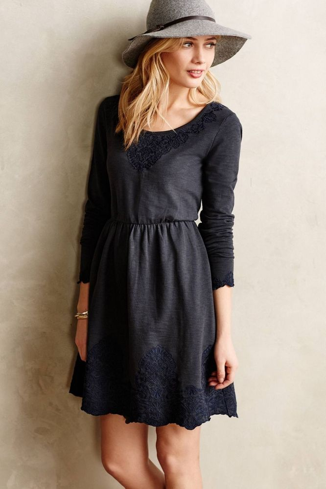 11cfbda44b2b Anthropologie Ellie Dress Sz S, Gray Slubby Cotton Embroidered, Saturday  Sunday #SaturdaySunday #FitFlare #Casual