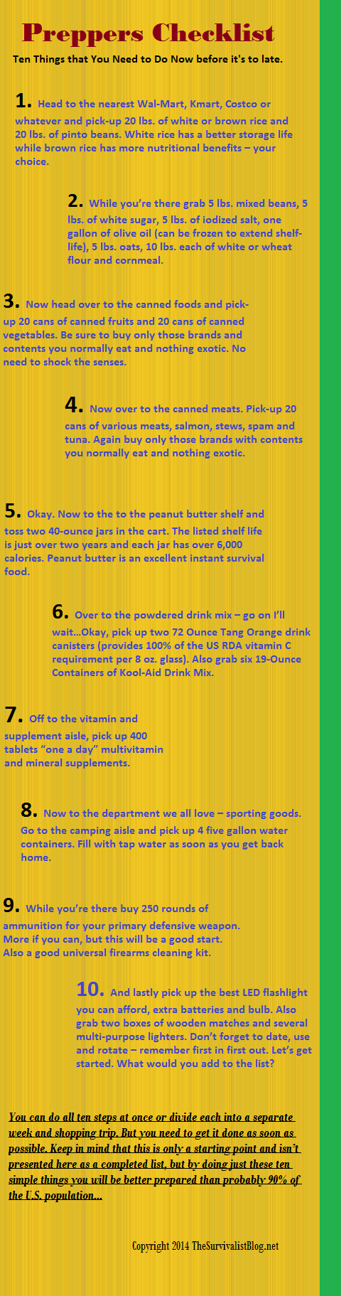 Infographic Ten Things to Do Now! Zombies SurvivalCamping ...