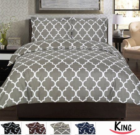 Amazon.com - Utopia Bedding Printed Duvet Cover Set, Wrinkle, Fade & Stain Resistant, Queen, Grey -