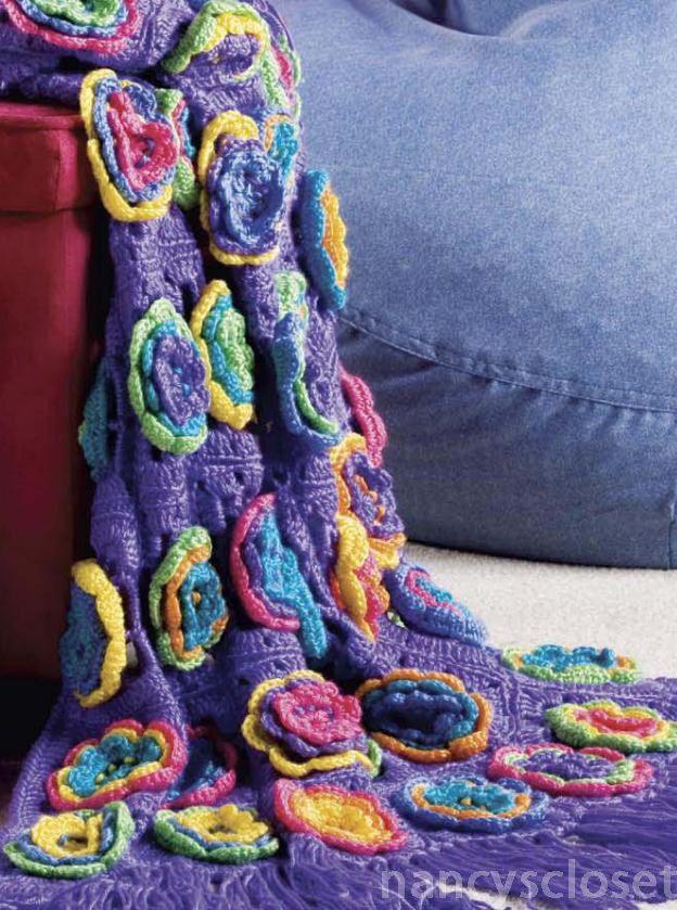 Crochet Pattern Blanket Throw Funky Chunky Flower Blanket Crochet