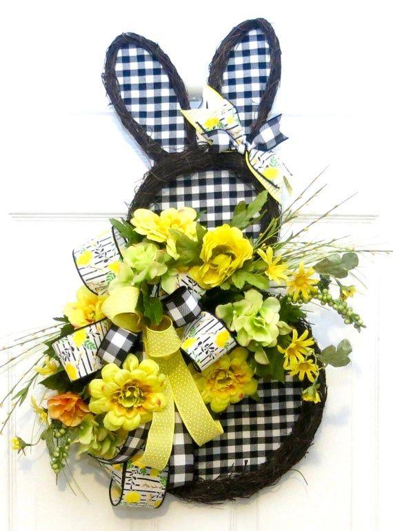 Photo of Spring Wreaths for front door, Easter Door Hanger, buffalo plaid rabbit wreath, Easter Wreath for fr