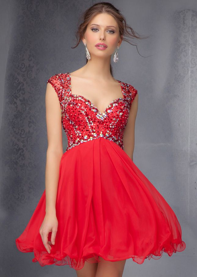 Hot Cap Sleeves Beaded Red Mori Lee 9273 Homecoming Dress | Kam's ...