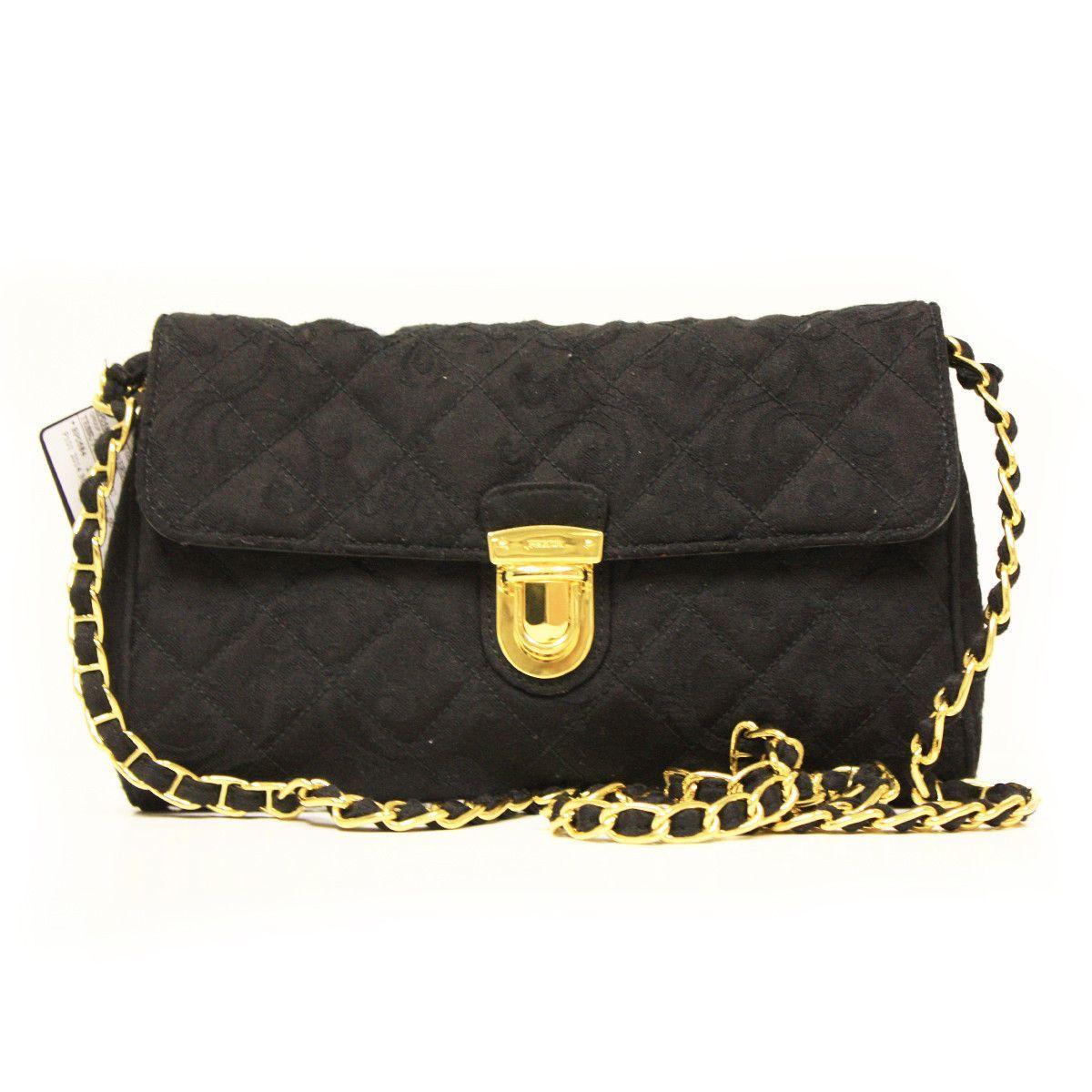 a69b942146762b Prada Nero Tessuto Impuntu Pattina Black Quilted Nylon & Leather Chain Bag