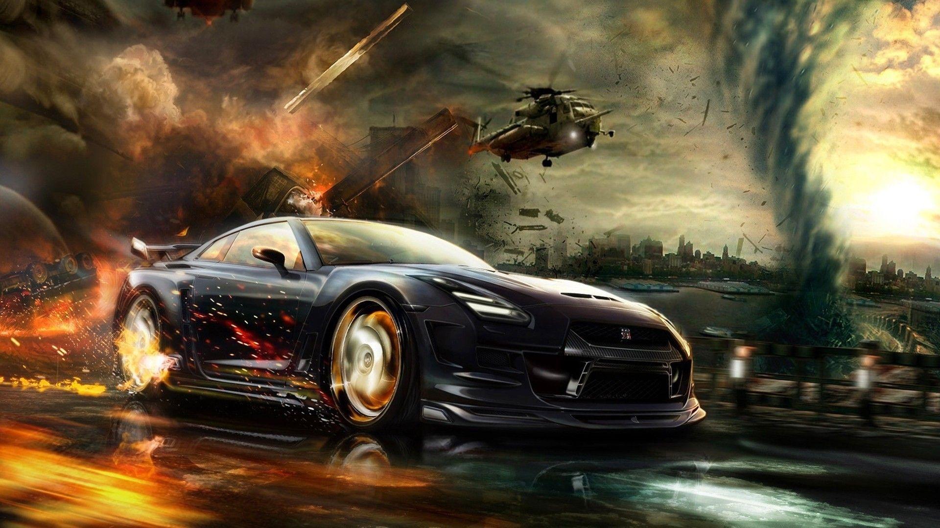 Cgi Vehicle Nissan Gt R Digital Art Car Fire Render Helicopters Explosion Wallpape Car Wallpapers Cool Car Wallpapers Hd Cool Car Backgrounds