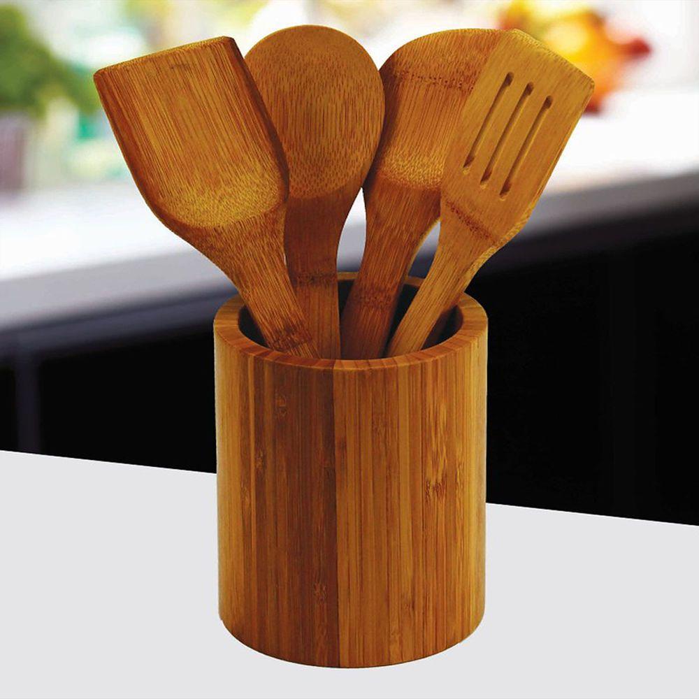 Round Bamboo Wooden Kitchen Utensil Storage Jar Cutlery Holder Caddy