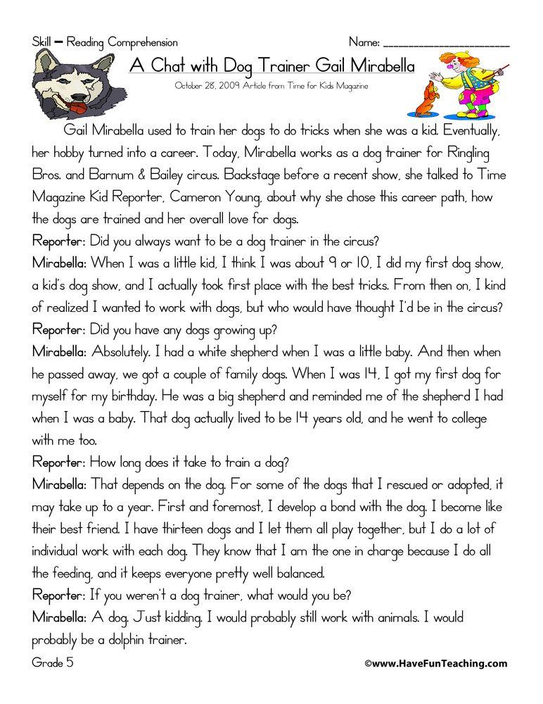 Fifth Grade Reading Comprehension Worksheets Have Fun Teaching Reading Comprehension Worksheets Reading Comprehension Comprehension Worksheets Comprehension worksheets for grade 5
