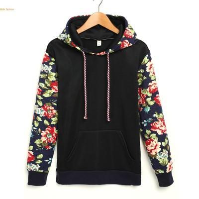 Womens Flower Hoodie Sweatshirt Ladies Hooded Sweater Tracksuit Pullover Tops