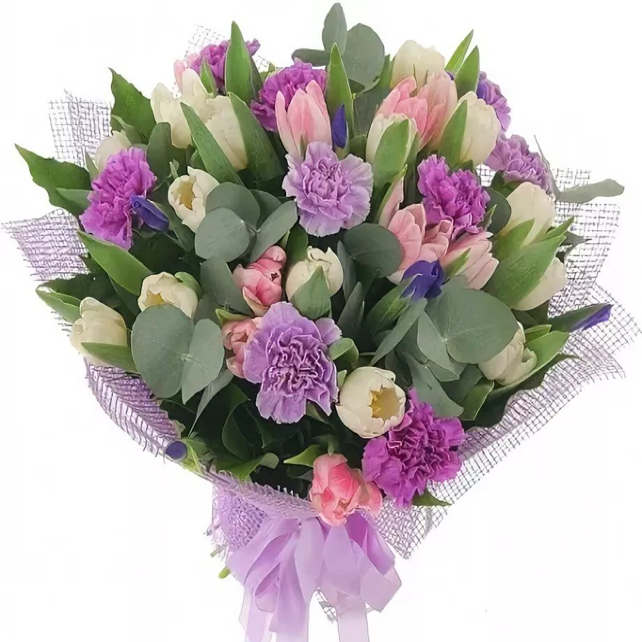 Букет только из гвоздик и тюльпанов, купить цветы букет невесты из искусственных цветов цена