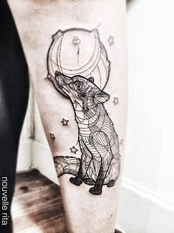 fox tattoo black and white - Google Search