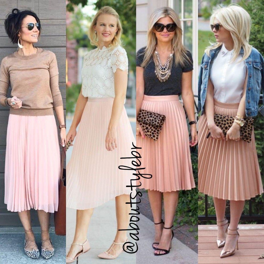 "5b4b27f658 About Style on Instagram  ""Looks de hoje com saia midi plissada rose ..."