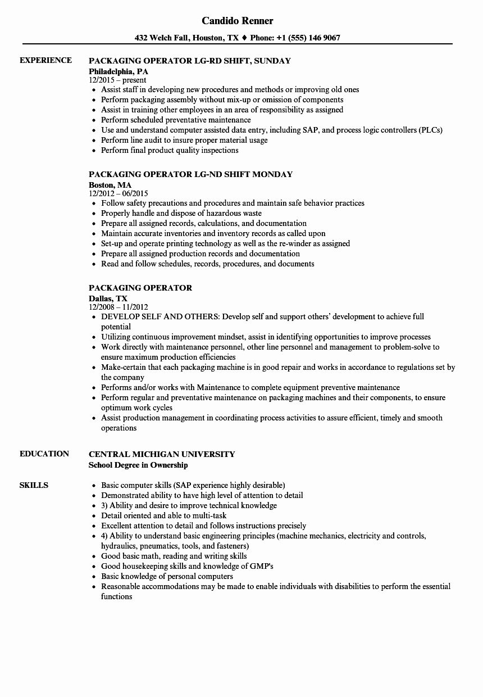 Packer Job Description Resume Best Of Packaging Operator Resume Samples Job Description Nurse Job Description Sales Job Description
