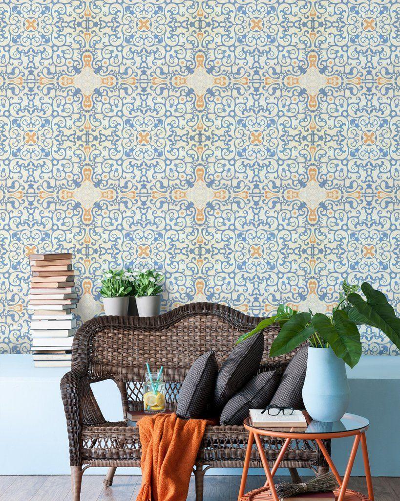 Spanish Tile Wallpaper In Blue And Orange From The Eclectic Collection In 2021 Tile Wallpaper Spanish Tile Burke Decor