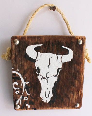 Country Decor Rustic Cattle Steer Skull Sign with Custom Cowboy Rodeo Western Design on Distressed Wood  ~ Country Cottage Cabin Woodland Decor
