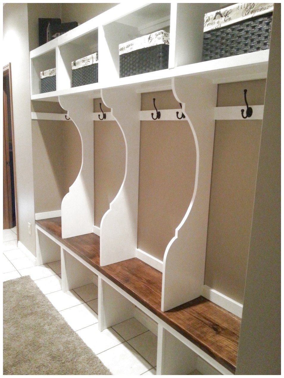 Furniture smart open cabinet without doors as white wooden mudroom