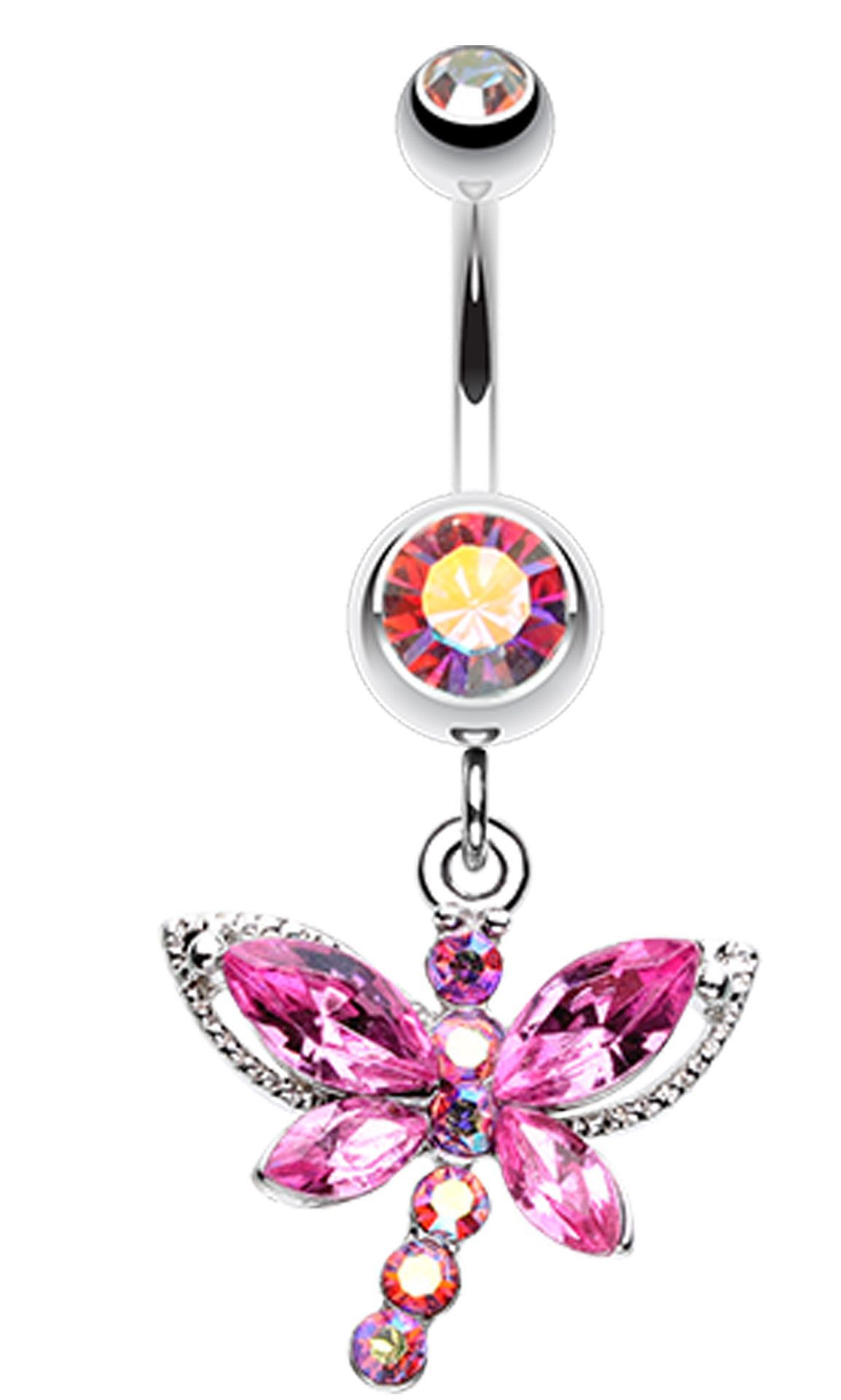 Fake belly piercing  Dragonfly Glam Belly Button Ring  Belly button Dragonflies and Ring