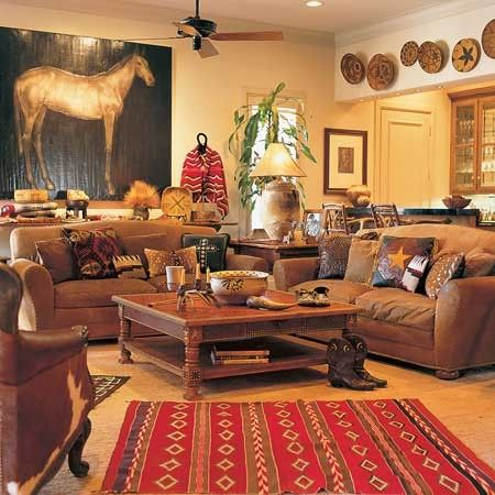 Native American And Spanish Styles Incorporated Colors Should Be Warm And Cozy Western Living Rooms Western Living Room Decor Farmhouse Living Room Furniture