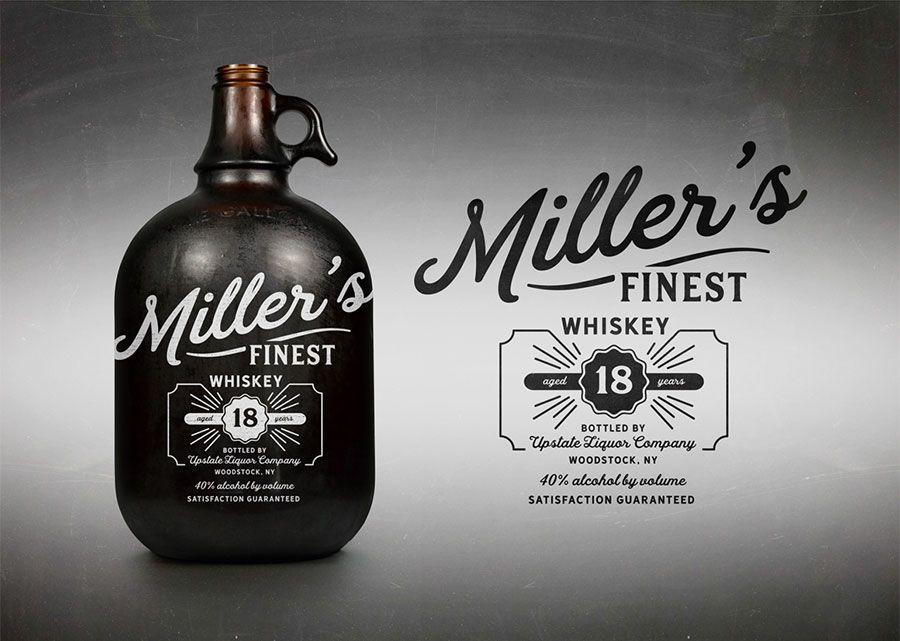 Retro / Vintage typography on whiskey bottle. Thanks to Hanley Vintage Fonts
