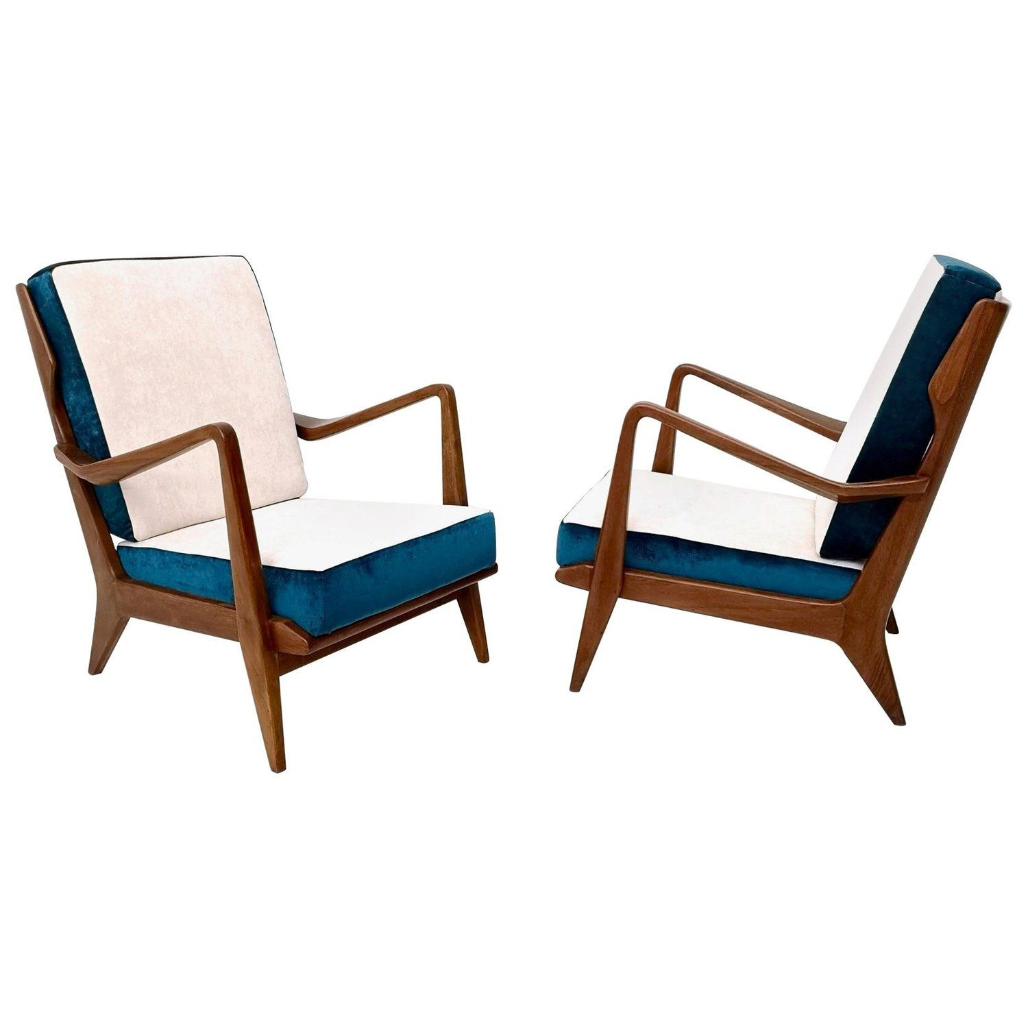 White And Blue Armchairs Mod 516 By Gio Ponti For Cassina Italy