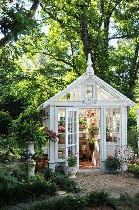 Captivating A Tiny Garden House Made From Recycled Vintage Windows. ShabbyChic Little  House. Perfect For Historic Backyard. Magical Potting Shed.