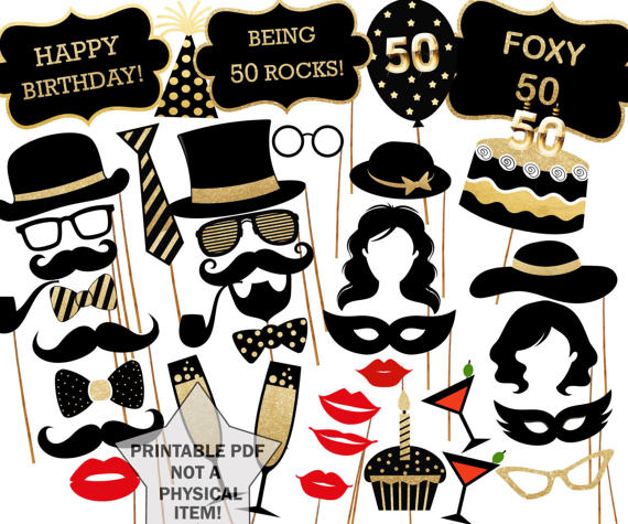 50th birthday photo booth props printable party props party