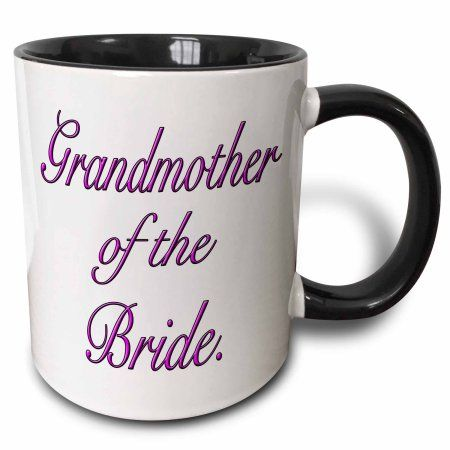 3dRose Grandmother of the Bride, Pink, Two Tone Black Mug, 11oz