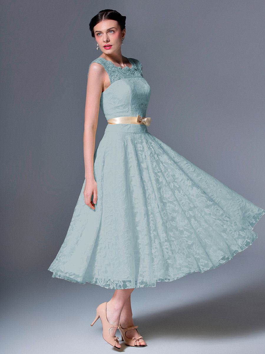 Lace Tea Length Gown Plus and Petite sizes available