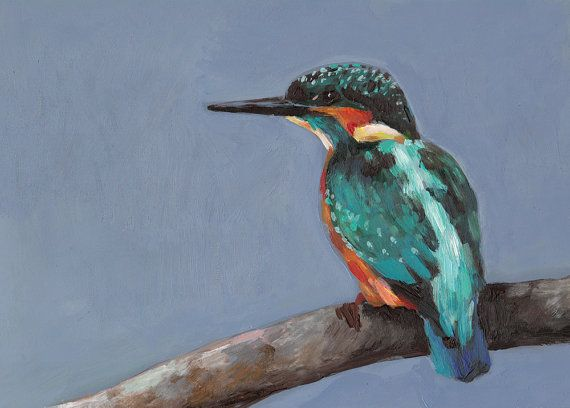 EISVOGEL-Vogel - Tier Malerei-Vogel Kunst-KINGFISHER Gemälde - Original Painting auf Mdf-Kunst Malerei - Tier Malerei