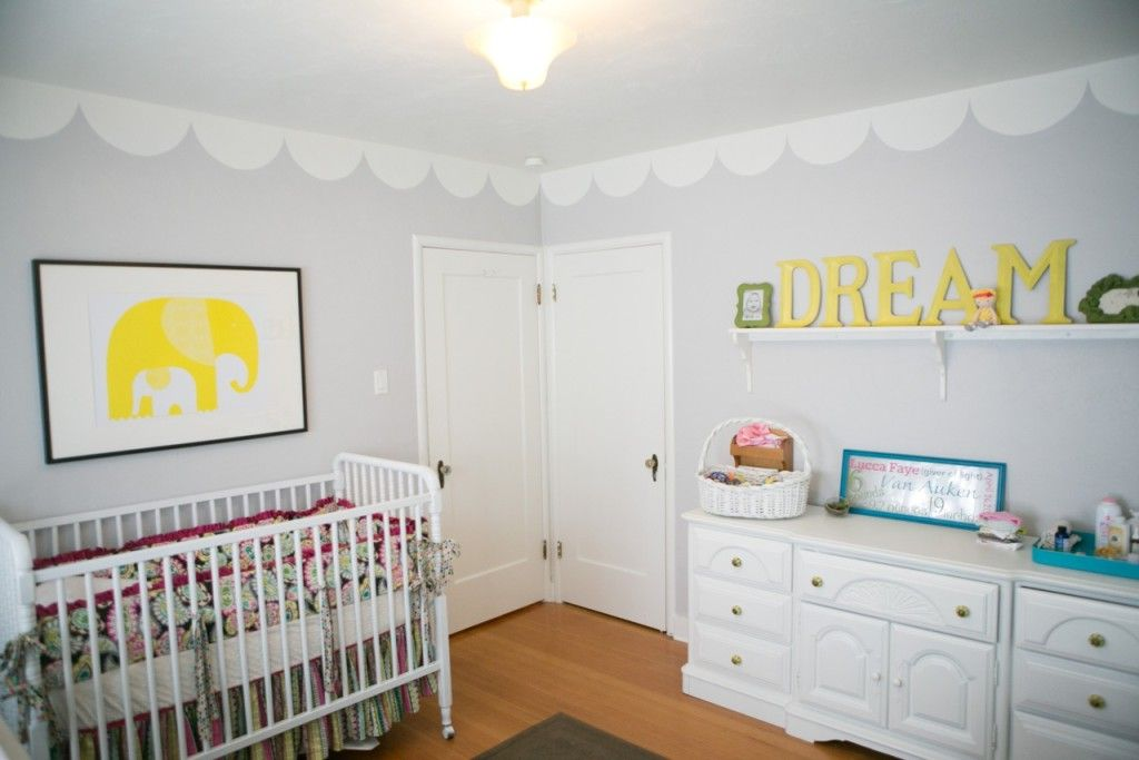 Nursery, Yellow, scallops, scallop paint, grey and white. Dream.  Ikea Elephant art. White Crib.  Accent with teal.
