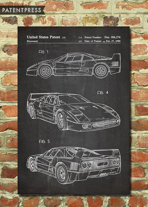 F40 Ferrari Poster Classic Car Poster, Sports Car Wall Decor, Race Car Theme, Automobile Art, Garage Decor, Teen Room Patent Print P145