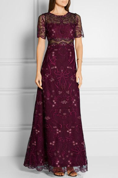 Marchesa Notte | Embroidered tulle and chiffon gown | NET-A-PORTER.COM