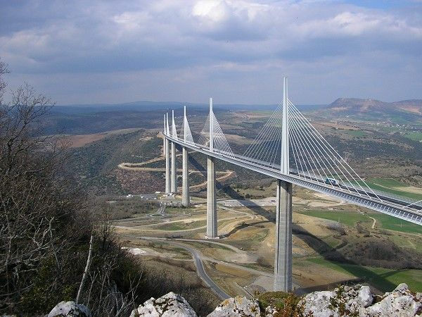 France - Millau Viaduct that spans the gorge valley of the River Tarn near Millau