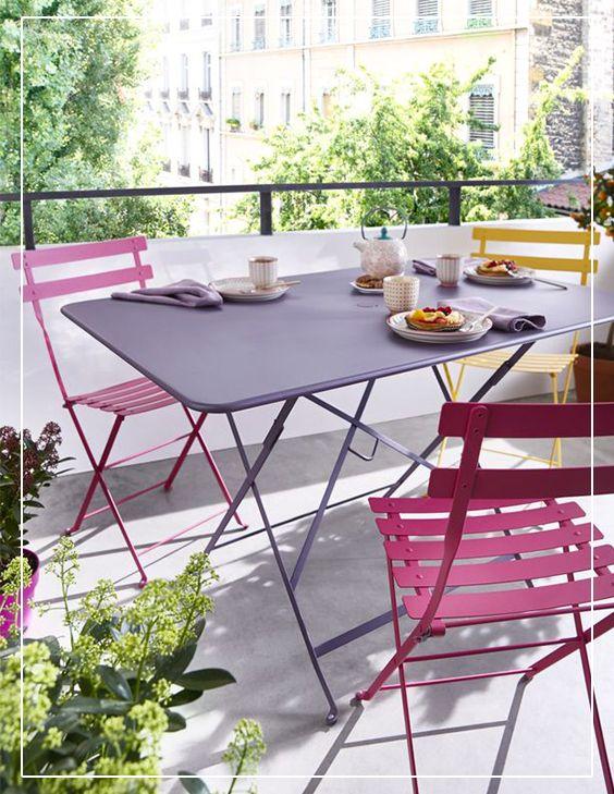 Chaise de jardin bistro rose fuchsia pliante
