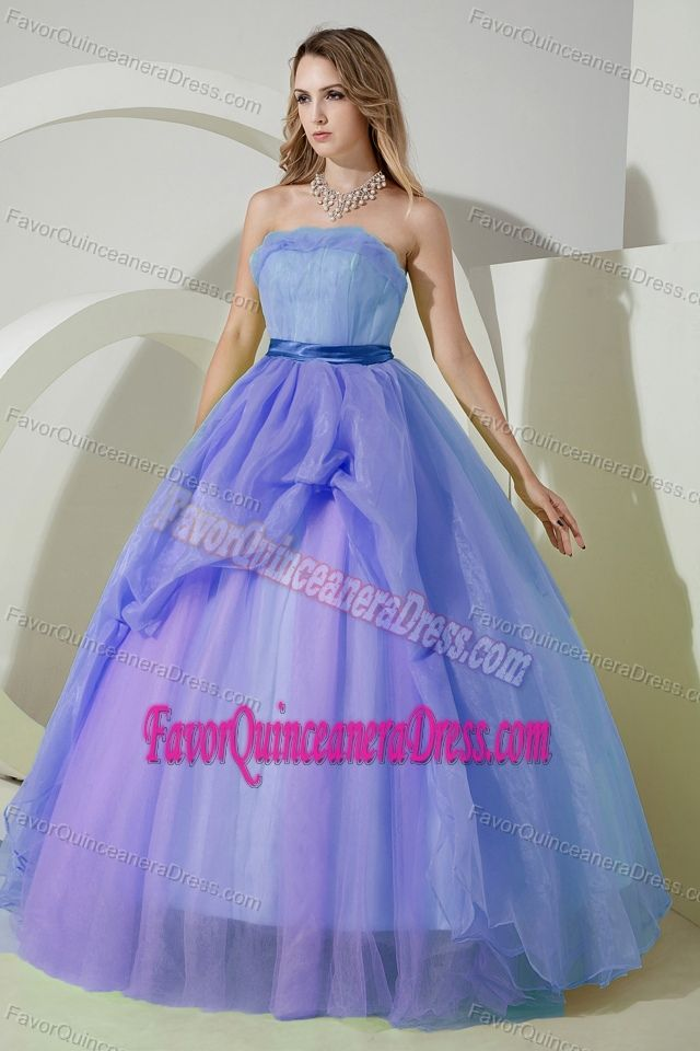 Simple Organza Strapless Floor-length Quinceanera Dresses in Lilac