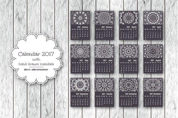 Calendar 2017 with mandala Calendar Templates $600 Calendar