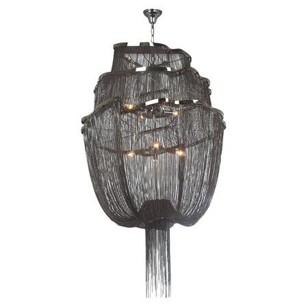DK Living Large Metal Mail Chandelier With Draped Chain Black (Hard Wired    Assembly Required