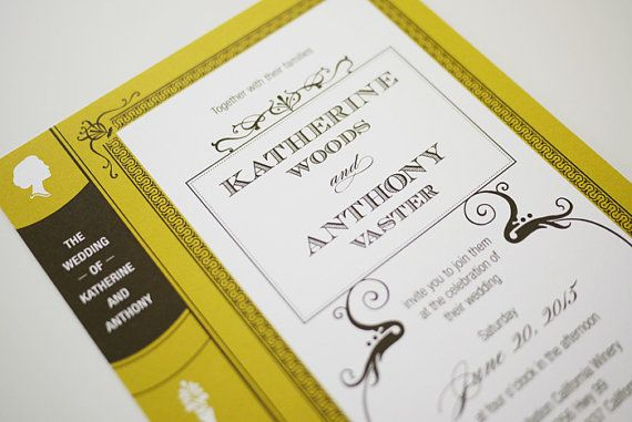Vintage Book Wedding Invitation Printable By Threeeggsdesign 45 00