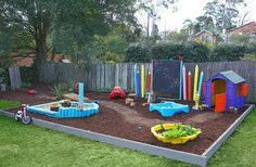 painted round fence posts to look like pencils in the kids part of the yard an outdoor blackboard their own planter in a kiddie pool great place for - Garden Ideas Play Area