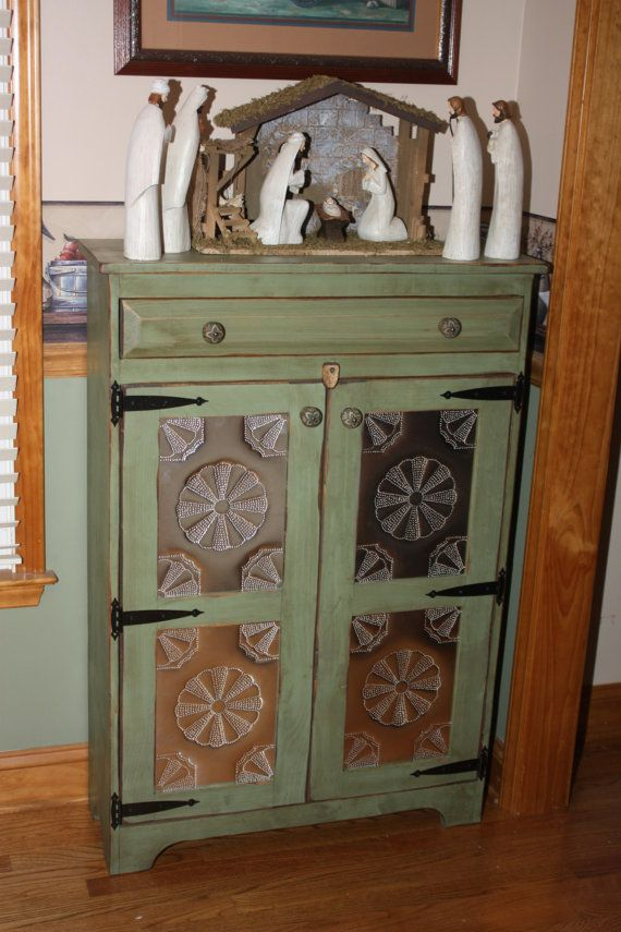 Pie Safe Punched Tin Cabinet Shabby Chic Media By RedBudPrimitives, $385.00