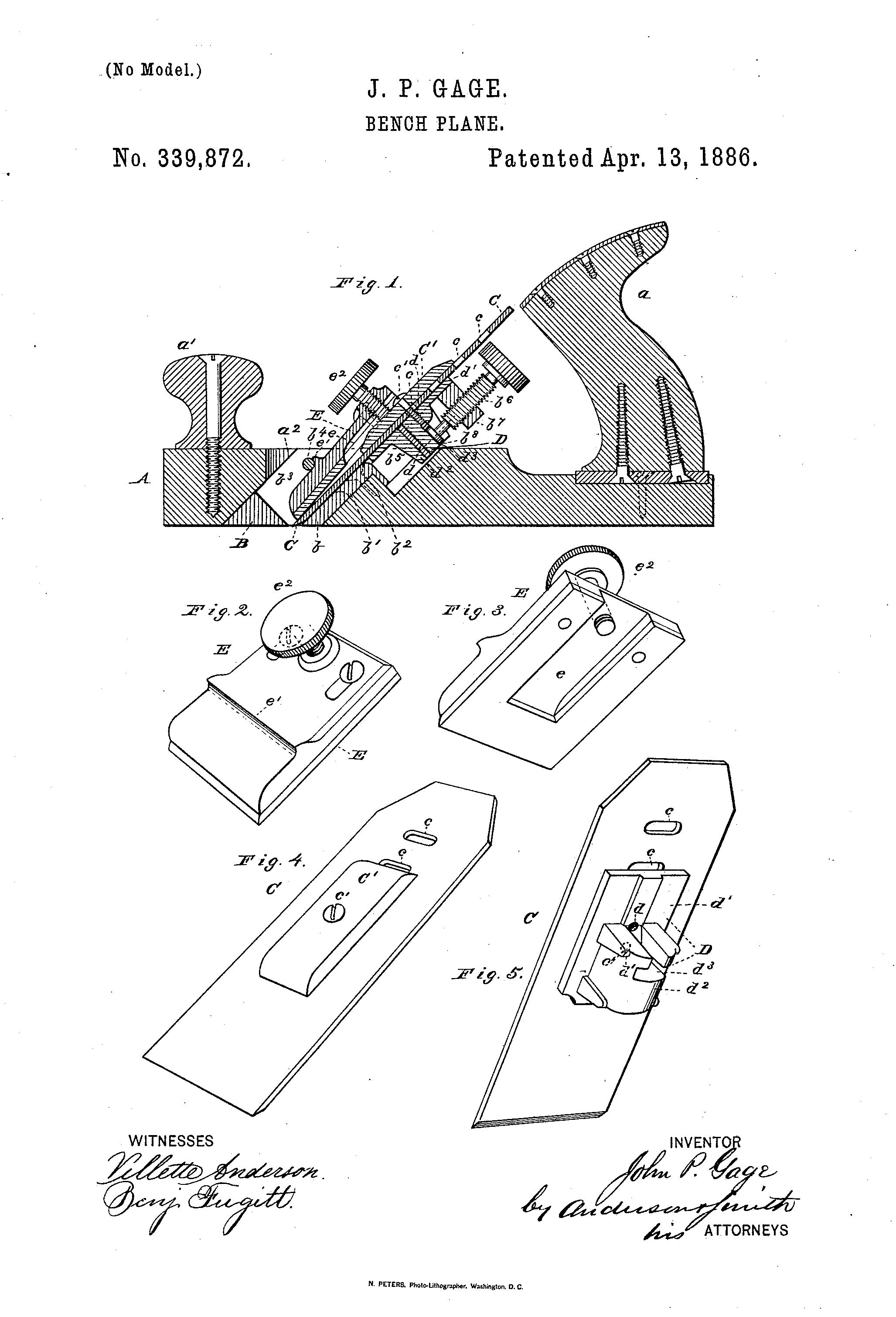 Us339872 Gage Patent Stanley Gage Planes Woodworking