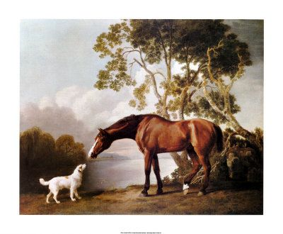 Bay Horse and White Dog george stubs art