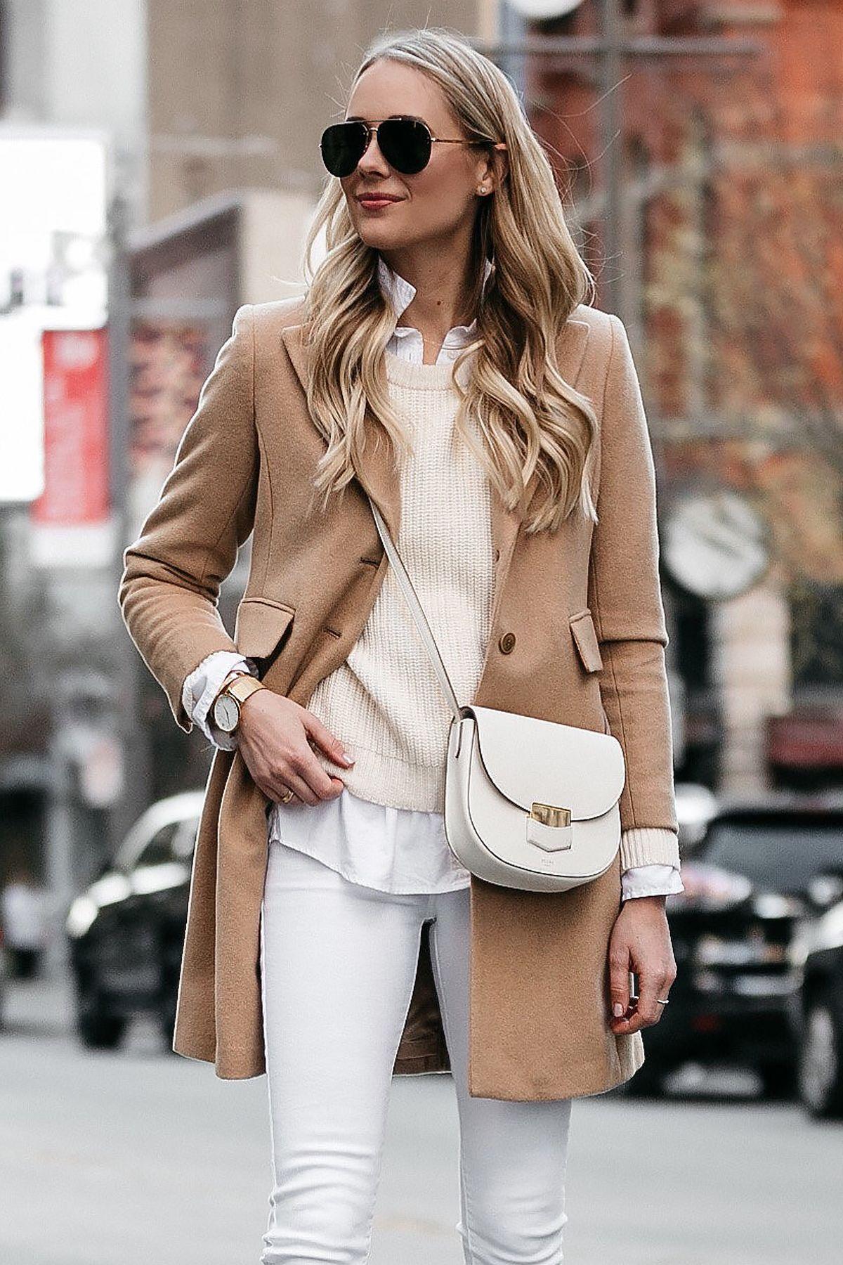 78e0105f4d4d Blonde Woman Wearing Camel Wool Coat White Skinny Jeans Celine Trotteur  White Handbag Fashion Jackson Dallas Blogger Fashion Blogger Street Style