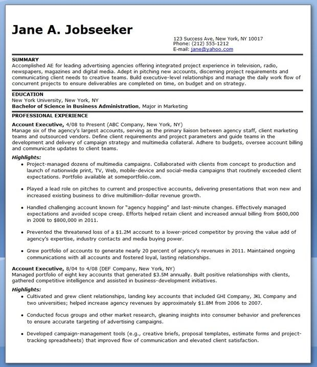 Sample Resume Account Executive Advertising CV Pinterest - advertising resume examples
