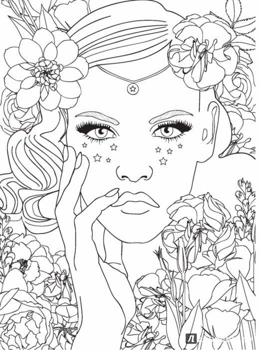 Image result for coloring pages of beautiful women\'s faces ...