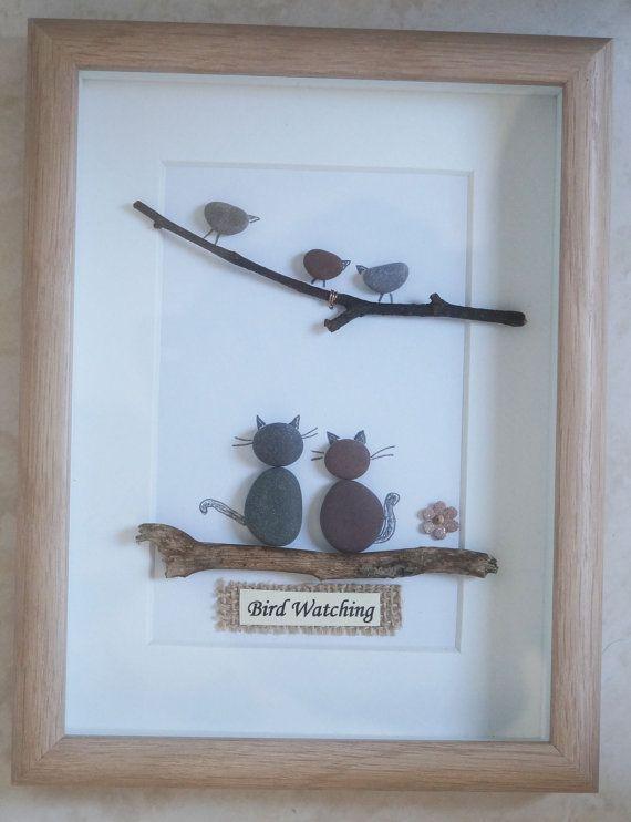 pebble art framed picture bird watching bricolage. Black Bedroom Furniture Sets. Home Design Ideas