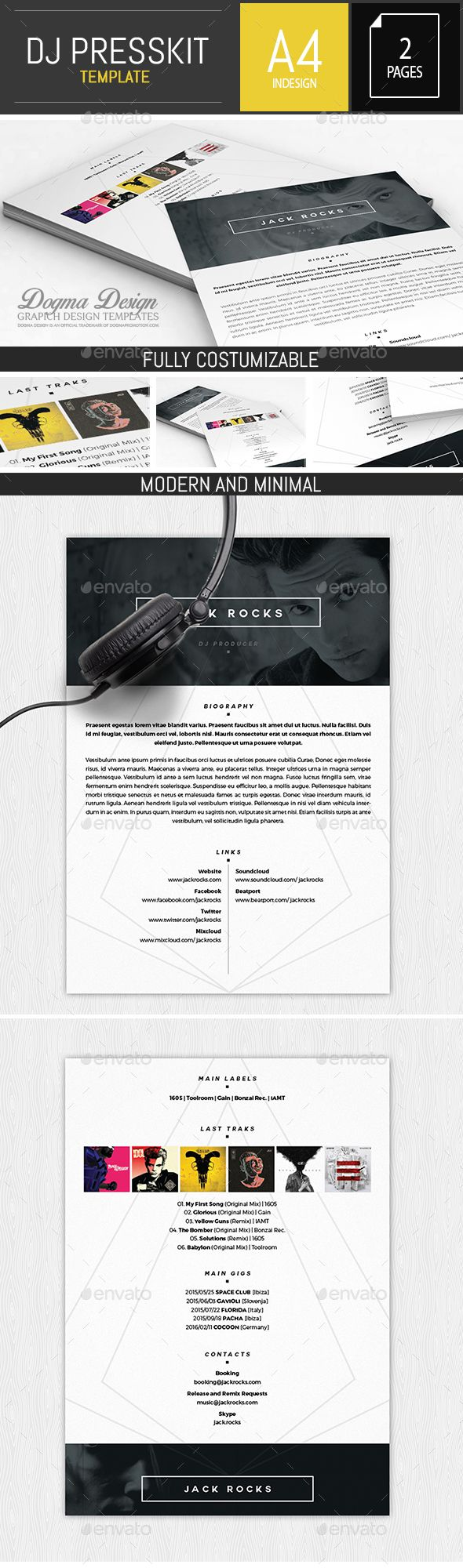 Musician  Dj Press Kit  Resume Indesign Template