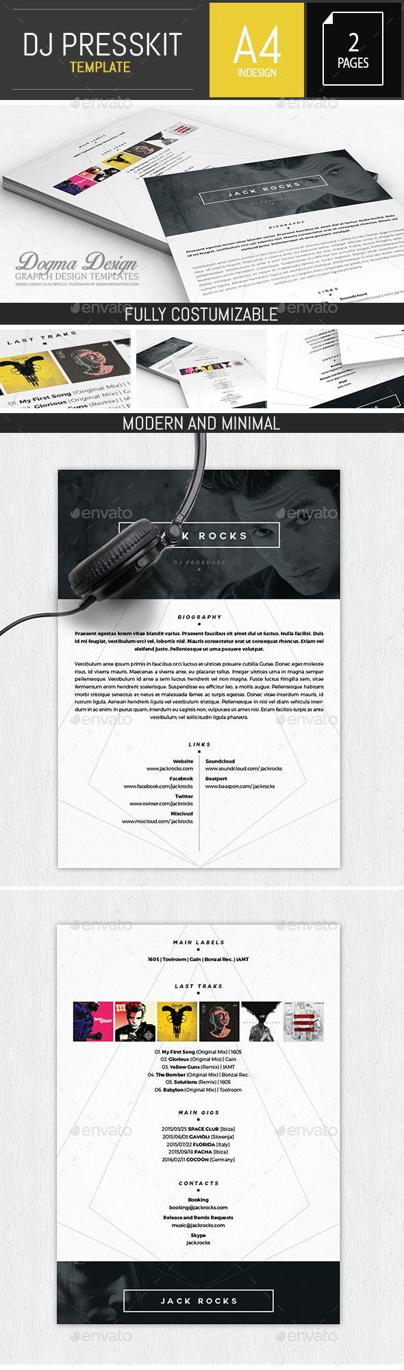 Musician / Dj Press Kit / Resume InDesign Template