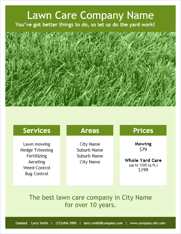 Lawn Care Flyer Template By Vertex42 Com Lawn Care Flyers Lawn Care Lawn Care Business